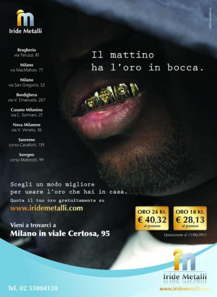 Pagina pubblicitaria compro oro: IRIDE METALLI